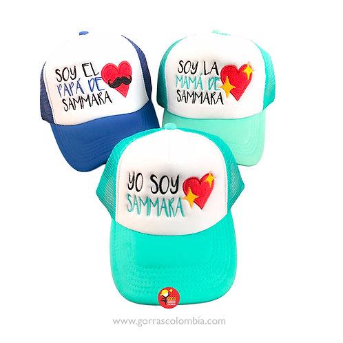 gorras azul y verde frente blanco para familia corazon