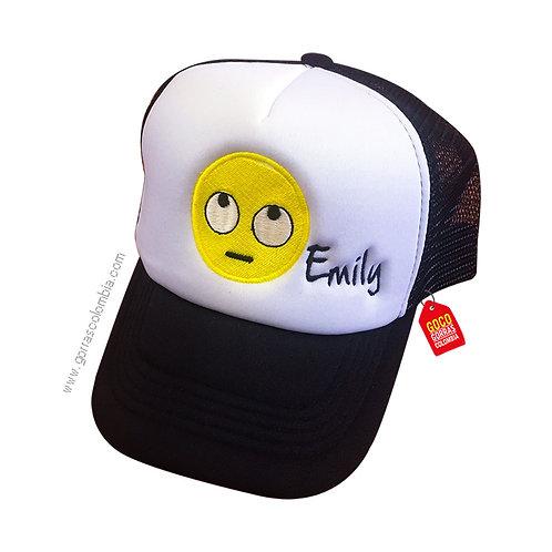 gorra negra frente blanco personalizada emoji con nombre