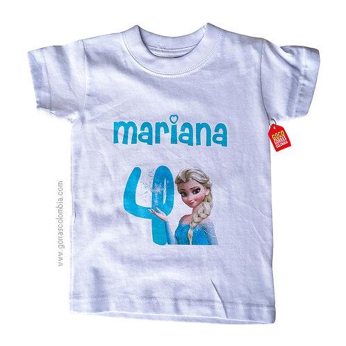 camiseta blanca para niña de frozen