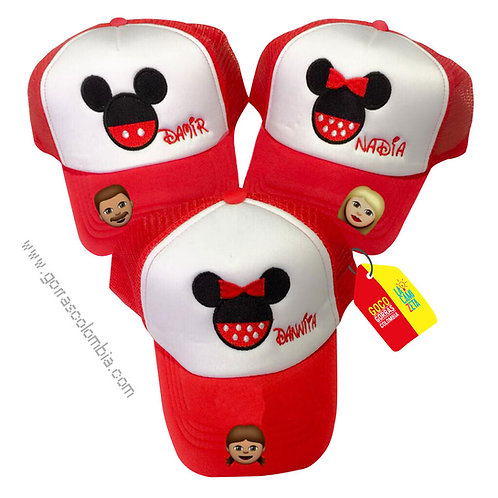 gorras roja frente blanco para familia mickey