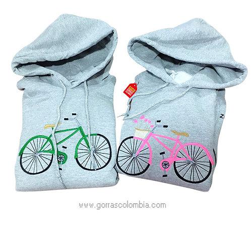 busos grises con capota para pareja bicicleta