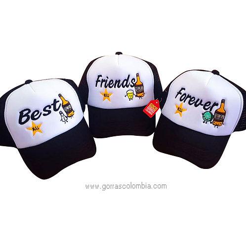 gorras negras frente blanco para amigas best friends forever