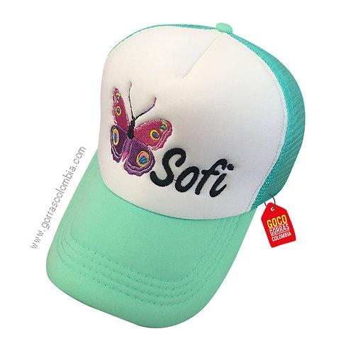 gorra verde frente blanco para niña de mariposa