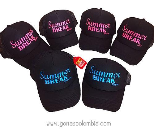 gorras negras unicolor para fiesta summer break