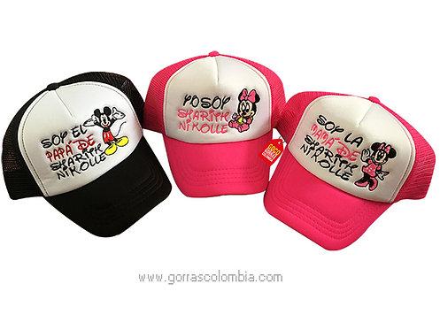 gorras fucsia y negra frente blanco para familia mickey