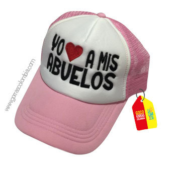 gorra rosada frente blanco para niña yo amo a mis abuelos