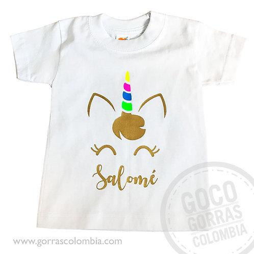 camiseta blanca para nina unicornio colores