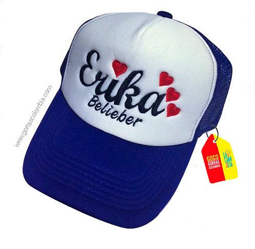 gorra azul frente blanco para niña belieber