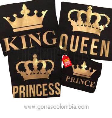 camisetas negras para familia king, queen, princess y prince