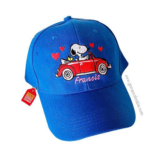 gorra azul unicolor personalizada snoopy