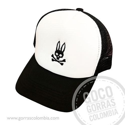 gorra negra frente blanco personalizada psycho bunny