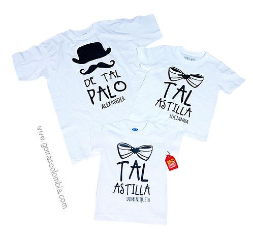 camisetas blancas para familia de tal palo tal astilla