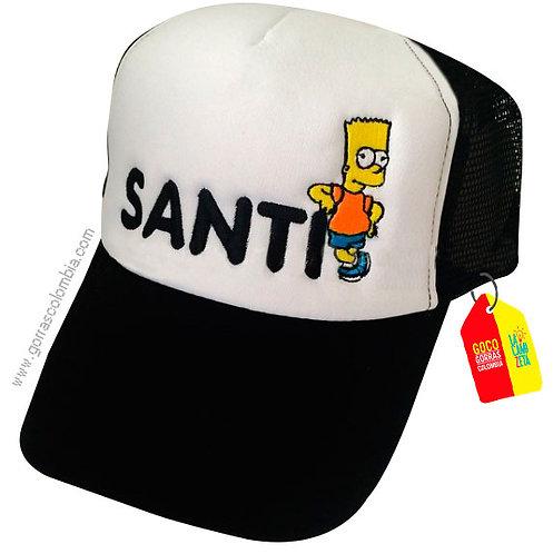 gorra negra frente blanco para niño bart