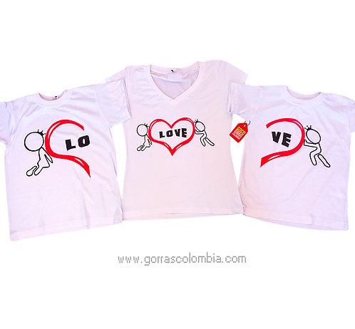 camisetas blancas para familia love con corazon