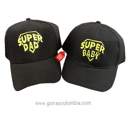 gorras negras unicolor para familia super dad y super baby