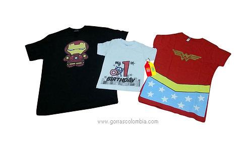camisetas negra roja y blanca de super heroes birthday