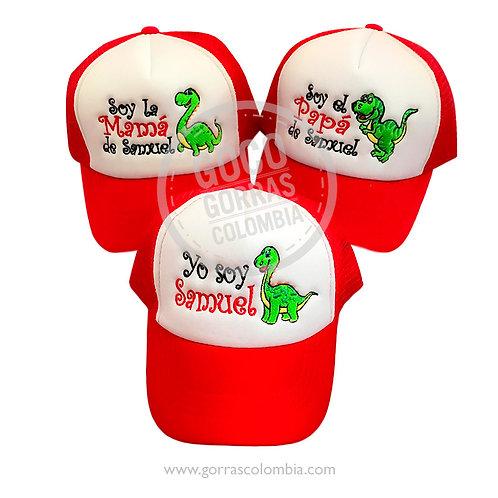 gorras rojas frente blanco para familia dinosaurios