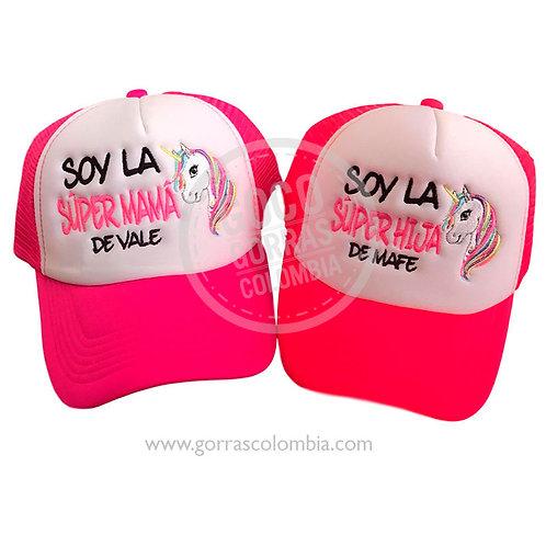 gorras fucsia frente blanco para familia unicornio