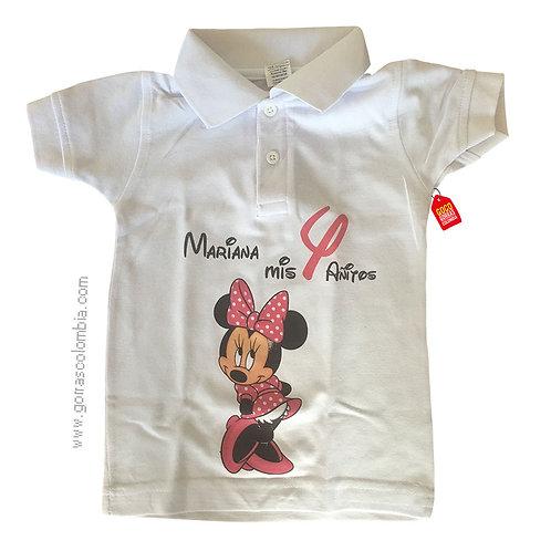 camiseta blanca para niña de minnie con numero