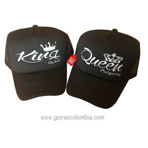 gorras negras unicolor para pareja king y queen apodos