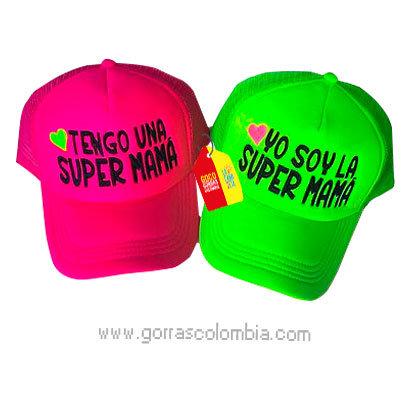 gorras fucsia y verde neon unicolor para familia super mamá