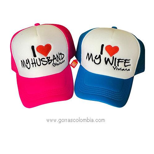 gorras azul y fucsia frente blanco para pareja husband y wife
