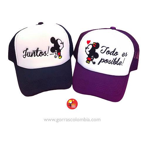 gorras negra y morada frente blanco para pareja todo es posible mickey