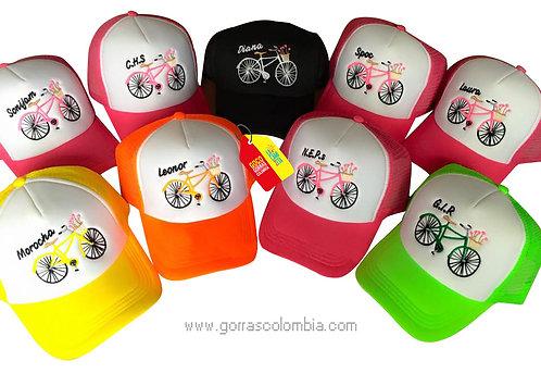 gorras varias frente blanco para fiesta despedida de soltera bici