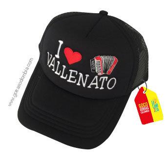 gorra negra unicolor personalizada i love vallenato