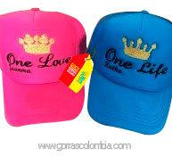 gorras azul y fucsia unicolor para pareja one love y one life