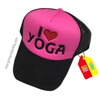 gorra negra frente fucsia personalizada i love yoga