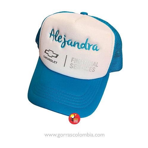 gorra azul frente blanco personalizada chevrolet