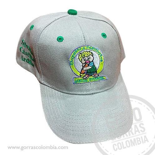 gorra gris unicolor personalizada logo colegio