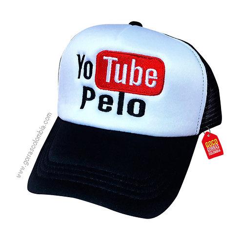 gorra negra frente blanco personalizada yotube pelo