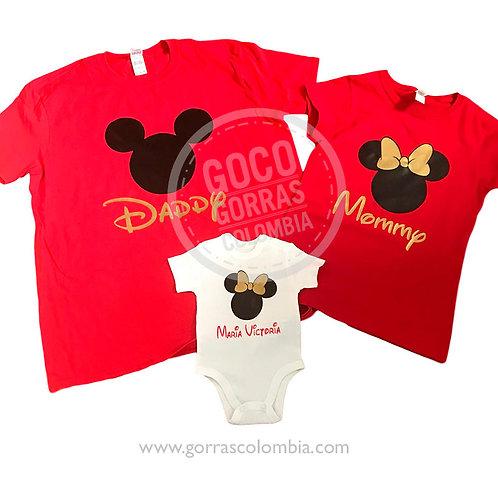 camisetas rojas y blanca para familia mickey daddy mommy baby