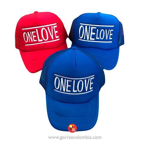gorras azul y roja unicolor para familia one love