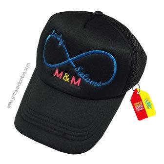 gorra negra unicolor personalizada infinito