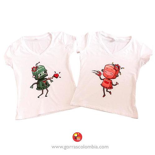 camisetas blancas para pareja robotinas