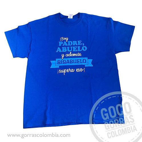 camiseta azul personalizada padre, abuelo y bisabuelo