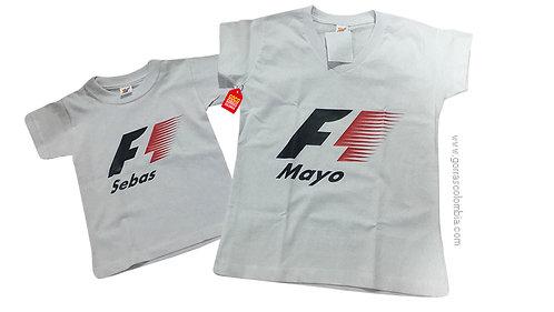 camisetas blancas para familia de formula uno mama e hijo