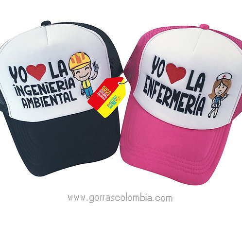 gorras negra y fucsia frente blanco para pareja ingeniero y enfermera