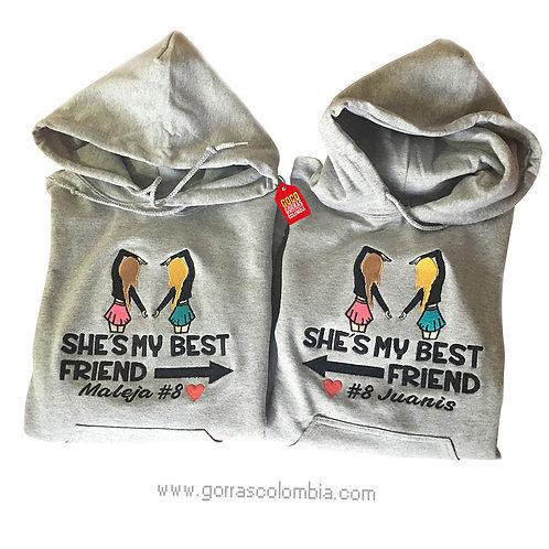 busos grises con capota para amigas best friend