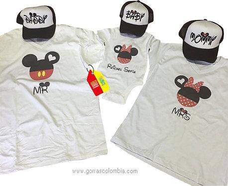 camisetas y gorras para familia de mickey daddy mommy y baby con nombre