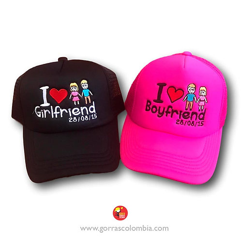 gorras negra y fucsia unicolor para pareja girlfriend and boyfriend