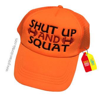 gorra naranja unicolor personalizada shut up and squat