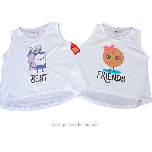 camisetas blancas para amigas best friends galleta y leche