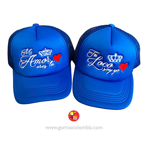 gorras azules unicolor para pareja mi amor eres tu