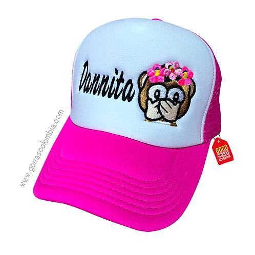 gorra fucsia frente blanco personalizada emoji mono