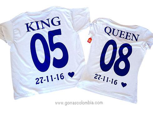 camisetas blancas para pareja king y queen con numeros y fecha