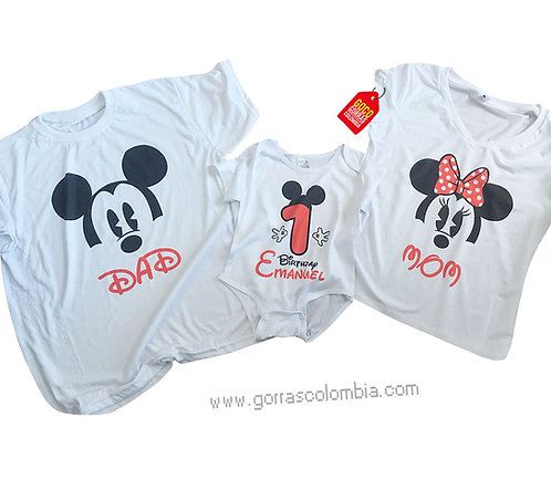 camisetas blancas para familia mickey